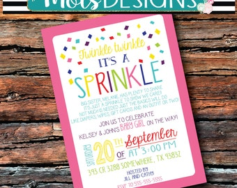 GIRL Version Any Color BABY SPRINKLE Invitation Couples Pink Teal Having One More Baby Shower Twinkle Twinkle Sprinkle 1st 2 Surprise Burlap