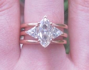 Marquise Three Stone Nested Wedding Set, Moissanite Bridal Set, Engagement Ring and Nested Wedding Band, Engagement Ring Set