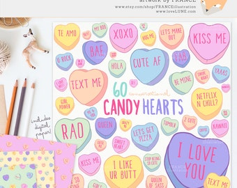 GET 4 FOR 3. Valentine's Day Candy Heart Clipart. Pastel Conversational Hearts. Kawaii Cute Tumblr Aesthetic. Valentines Clipart. CA014.
