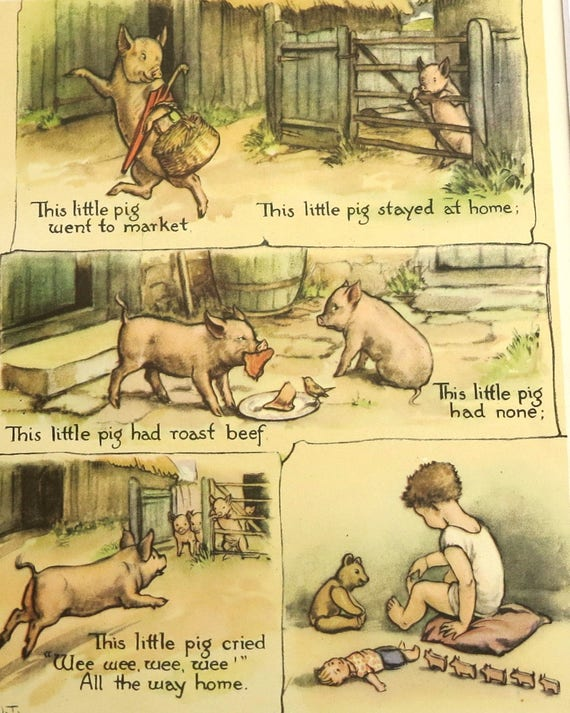 1950s children's nursery rhyme print, book illustration of This Little Pig went to Market by Margaret Tarrant, matted and mounted, 14 x 11