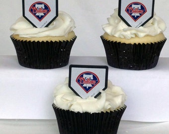 12 Philadelphia Phillies Cupcake Rings MLB Baseball Toppers Party Favors