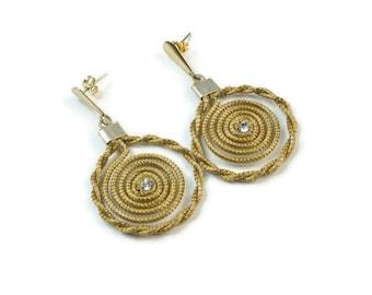 Hoop Earrings, Spiral Mandala Earrings, Golden Grass Earrings, Organic Earrings, Twisted Spiral Hoop Earrings, Fiber Earrings
