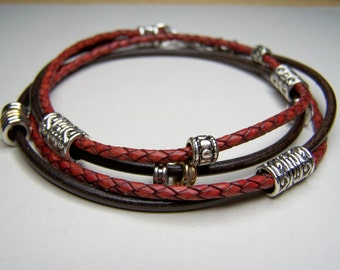 Leather, Ankle Bracelet- Brown, Antique Red, Leather Anklet, 6 to 12 in Sizes, Slave Anklet, by Accentricsol