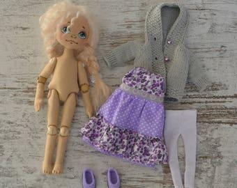 Handmade textile doll. Rag doll. Cloth doll. Ready to ship!
