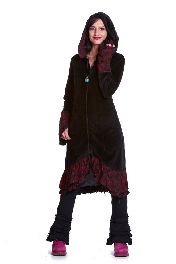 VELVET GOTHIC COAT long black velvet coat elegant steampunk