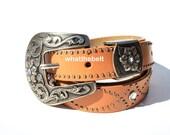 Vintage Belt Tan Studded Western Belt with Silver Ranger Set Large