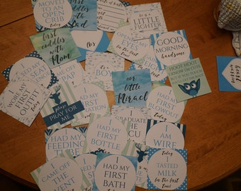 Boy Preemie NICU Milestone Cards and a no touching sign (DIGITAL COPY)