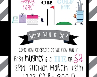 Shopping Tags or Golf Bags Gender Reveal Party Invitation (DIGITAL COPY)