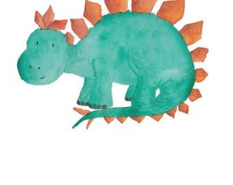 Dinosaur Watercolor Stegosaurus- Nursery Room or Playroom art print
