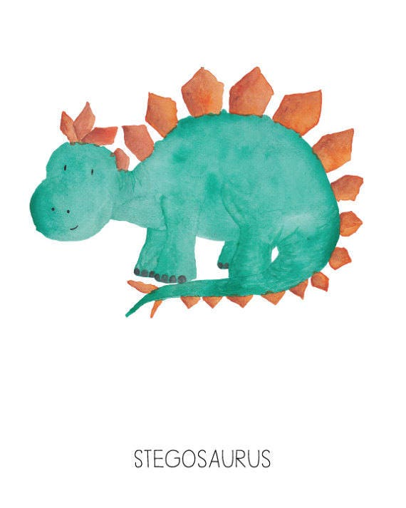 Dinosaur Watercolor Stegosaurus- Nursery Room or Playroom art print