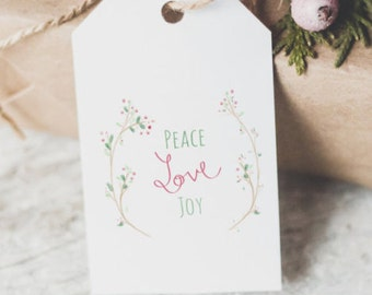 Peace Joy Love gift tag / christmas gift tag / holiday gift tag/ christmas present tag / holiday gift tag