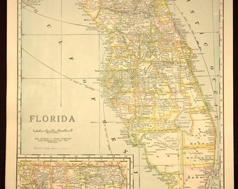 TWO SIDED Antique Road Map Florida Map Original Highway Roadway