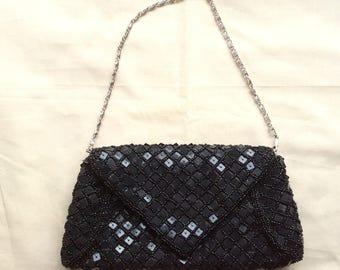 Vintage beaded evening bag, black evening bag, beaded evening purse.