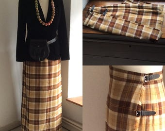 Vintage ladies tartan maxi kilt by Edinburgh textiles, waist 30in, traditional kilt, brown Beige tartan.