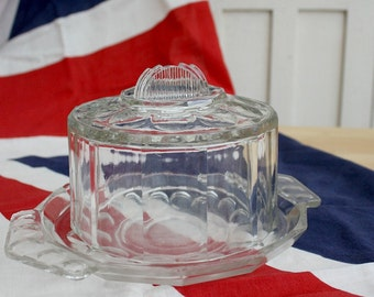 French / Vintage / Glass Cloche/ cheese dome / food cover / Pressed Glass / Vintage Kitchen / French Kitchen / Country kitchen