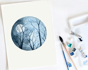 New Moon. Watercolor print. Night sky. Trees. Nature. Watercolor art.  Art print.