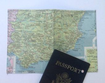 Passport holder: Vintage Spain Map