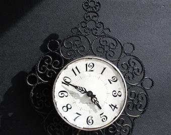 Vintage 1950s General Electric Wall Clock With Filigree Detail / Elegant / Baroque / Feminine / Black Clock / Wall Decor /  GE /Curly Clock