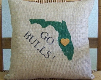University of south Florida pillow, Graduations gift, bulls pillow, USF dorm room decor, Florida college, free shipping!
