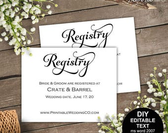 Bridal registry, Registry card, wedding registry, wedding registry card, gift registry, rustic, printable wedding, template, DIY  #S4MR1
