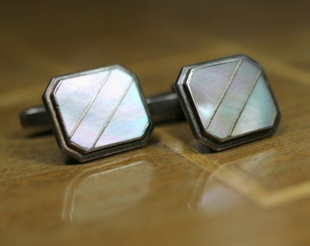 1930s: classy vintage silver cufflinks with white MoP inlay, unisex, handcrafted decoration