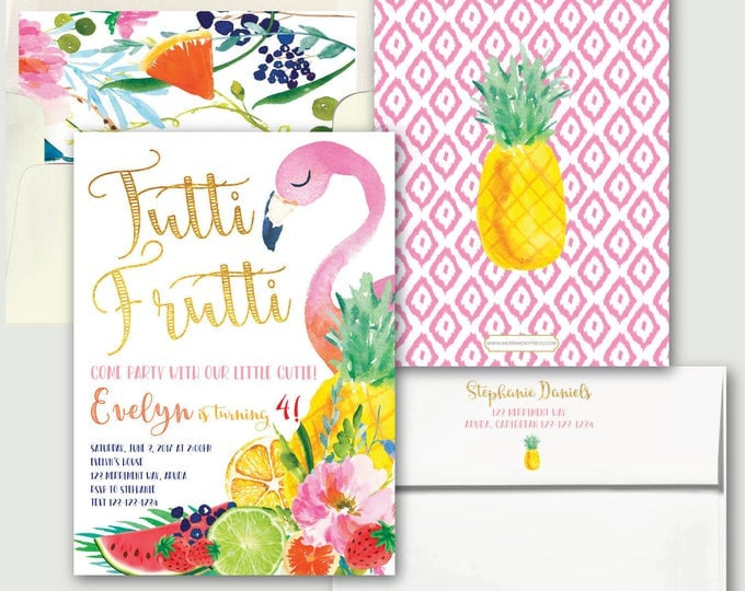 Tutti Fruity Birthday // Tutti Frutti Invitation // Flamingo // Fruit // Tropical // Gold // Yellow // Pink // Pineapple // ARUBA COLLECTION