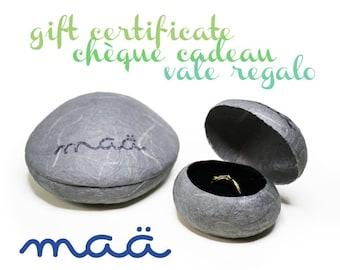 "Gift certificate ""Maä bijoux"", Gift card, Last minute gift idea, Valentine gift, Jewelry present, Mariage proposal, Love gift, Gift voucher"