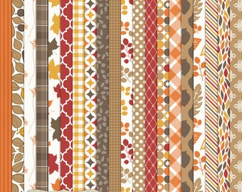 """Digital Printable Scrapbook Craft Paper - A Wisconsin Fall - Autumn Leaves Orange Brown Red Plaid Gingham - 12 x 12"""" - PU/CU Commercial Use"""