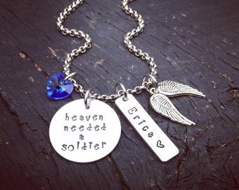 Heaven Needed A Soldier Memorial Necklace | Fallen Soldier Memorial Jewelry | Soldier Memorial Jewelry | Sympathy Gift | Memorial Keepsake