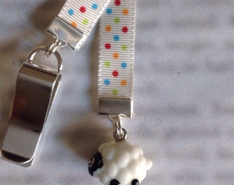 Sheep bookmark, cute bookmark  - Attach clip to book cover then mark the page with the ribbon. Never lose your bookmark!