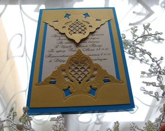 Royal blue wedding invitation Die cut invitations Gold maid of honor Luxury birthday greeting cards Laser cut invitations Wedding cards