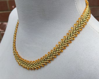 Handcrafted - Woven - Glass Seed Bead Collar Necklace - Chevron Pattern - Vintage Jewellery - Gift for Her - Gold - Orange