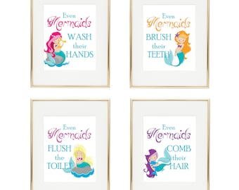 "Mermaid Bathroom Decor - Girls Bathroom- ""Even Mermaids Wash Their Hands"" - Bathroom Rules - Girls Bathroom Decor - Set of 4 Prints"