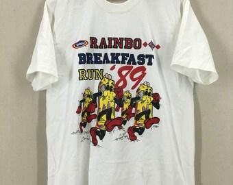 Vintage 80's Rainbo Breakfast Run Marathon Running Tshirt 50/50 Sz XL