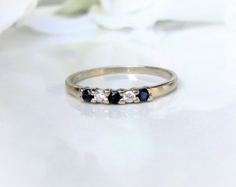 Vintage Sapphire & Diamond Wedding Ring 14K White Gold Thin Wedding Band Stackable Sapphire Ring Something Blue Bridal Jewelry Size 7