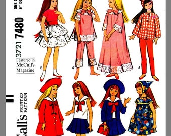 Vintage McCall's Skipper Doll Wardrobe Fabric Material Sewing Pattern #7480 Copy