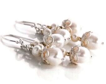 Pearl Chandelier Earrings Silver Wedding Pearl Earrings Bridal Freshwater Pearl Jewelry White Pearl earrings Sterling Silver Earrings Prom