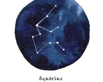 AQUARIUS Constellation Zodiac Greeting Card Birthday Card Astronomy Stars