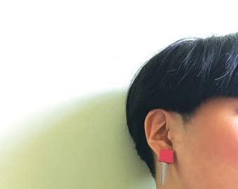 Geometric Stud Leather Earrings