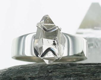 Silver ring with Herkimer Diamond. Size 9 . Natural stone. Gemstone rings. Herkimer crystal ring. Raw crystal ring. Ring size R 1/2.