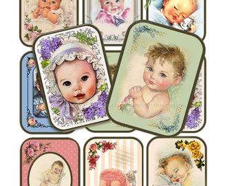 INSTANT DOWNLOAD Printable Digital Collage Sheet Vintage Baby Altered Art Tags Labels atc aceo