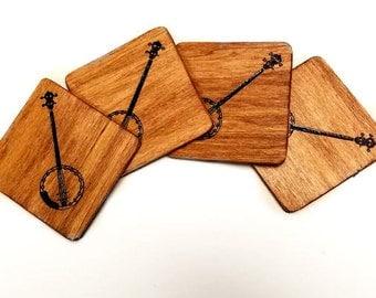 "Hand engraved set of 4 ""banjo"" wood coasters"