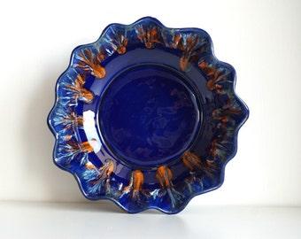70s Roberto Rigon blue centerpiece bowl vintage, Italian ceramic pot, large blue dripping vase modernist