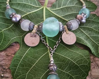 Sea Glass Tribal Necklace with Afgani Antique Coins and Earring Set