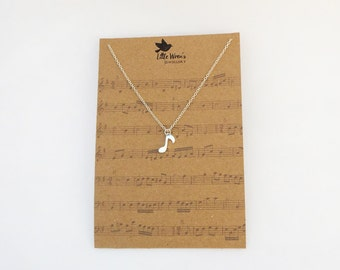 Music Note Necklace // Music Jewellery • Sheet Music • Music Necklace • Silver Dainty Necklace • Music Gift • Musician Singer • Free Postage