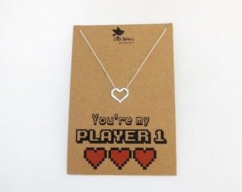 Pixel Heart Necklace // Geek Necklace • Gamer Girl Gift • 8 Bit • Player 1 • Heart Silver Jewellery • Anniversary Gift • Geeky