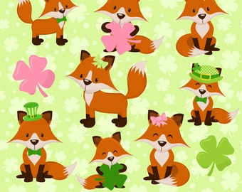80% OFF SALE Fox Clipart, Fox Clip Art, Digital Fox, Fox Graphics, St Patricks Day, Printable, Commercial Use