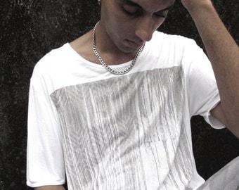 White Man's T Shirt, Men's Boho Short T shirt, Man's Tribal Shirt, Original Man's Wear, White T Shirt, Printed T-shirt, Cool Man's T shirt