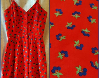 Vintage Red Cherry Print Dress, Lanz Originals, Sundress, Small Extra Small