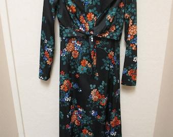 Sears Fashion size small Black Floral 2pc maxi dress